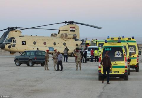 Chính quyền Ai Cập đã cử đội cứu hộ và nhiều xe cứu thương đến hiện trường. Ảnh: Daily Mail