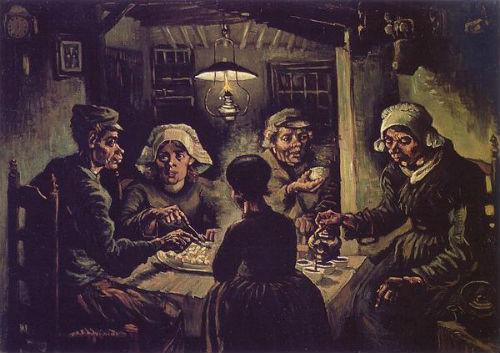 The Potato Eaters mô tả cuộc sống mê muội tối tăm khổ ải của những người nông dân