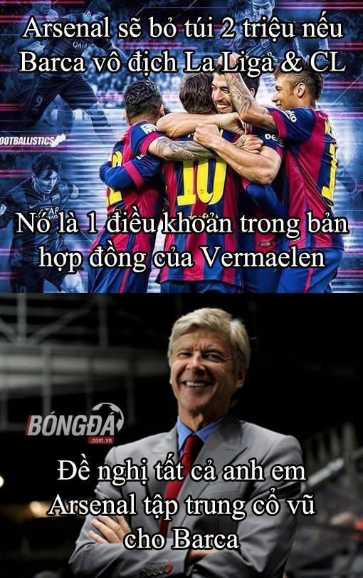 Arsenal sẽ ủng hộ Barca hết mình