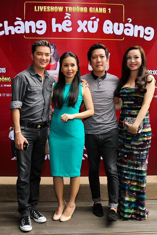 Ngoài Nhã Phương, ca sĩ Đàm Vĩnh Hưng, Cẩm Ly, Hoàng Châu cũng có mặt để nghe Trường Giang bật mí về kế hoạch mới.