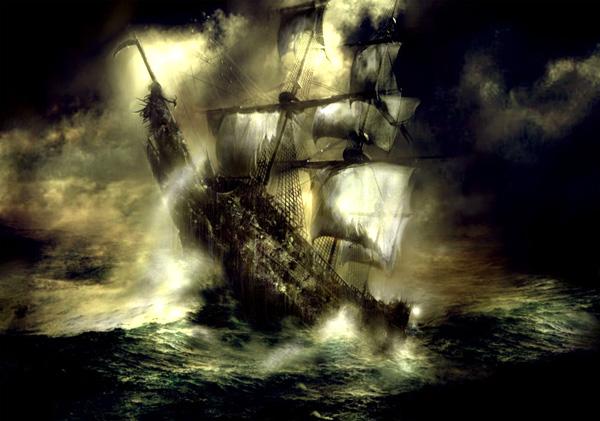 Hình ảnh mô tả lại cảnh con tàu đang bị cơn bão nuốt chửng.