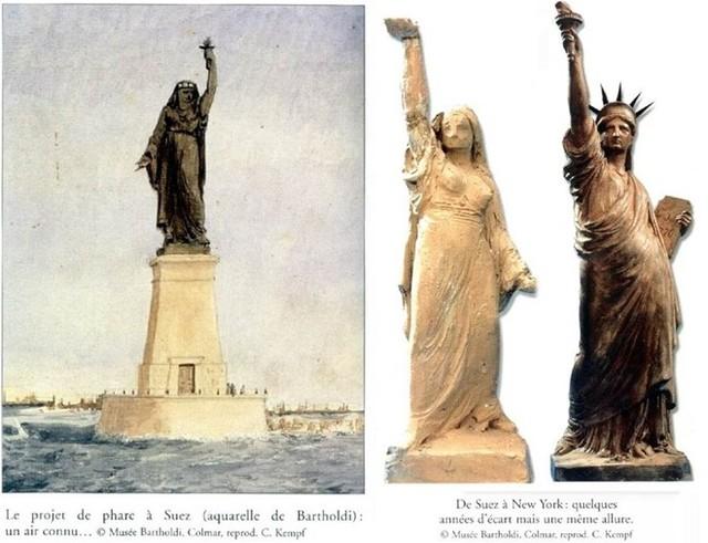 Nguyên mẫu ngọn hải đăng Bartholdi định xây dựng tại Ai Cập, so sánh với tượng Nữ thần Tự do