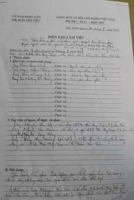 Biên bản hòa giải của gia đình ông Bài và ông Lợi