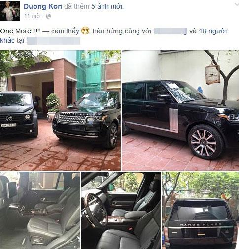 Đỗ Bình Dương khoe xe mới trên Facebook cá nhân.