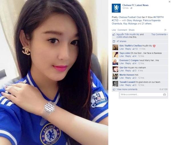 Fanclub Chelsea 7 triệu người like đăng ảnh Á hậu Huyền My 2