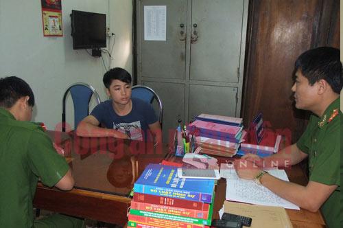 Công an tỉnh Thái Nguyên lấy lời khai Chu Văn Thế.