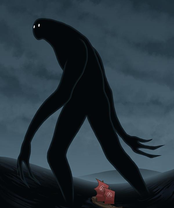 Umibozu được miêu tả có tính cách vô cùng quái dị