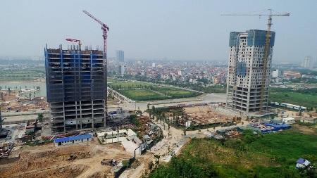 Các tổ hợp chung cư đang được xây dựng trong khu ngoại giao đoàn