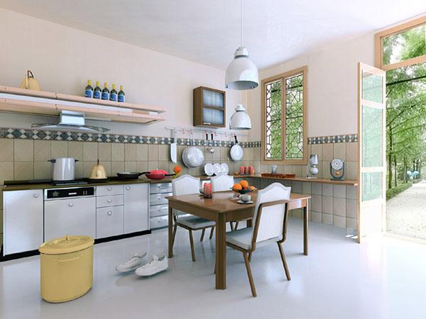 Bếp nấu tránh bị nhìn trực diện từ cửa chính.
