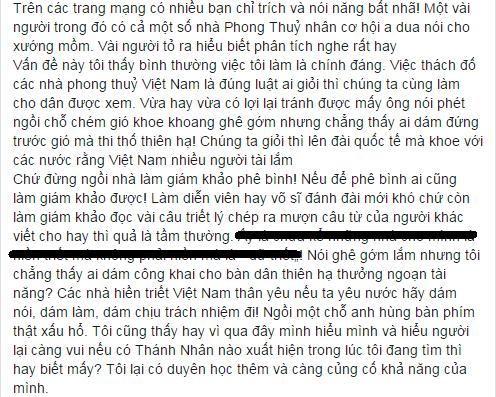 Võ sư Lương Ngọc Huỳnh chỉ trích và thách đố các nhà phong thủy Việt Nam.