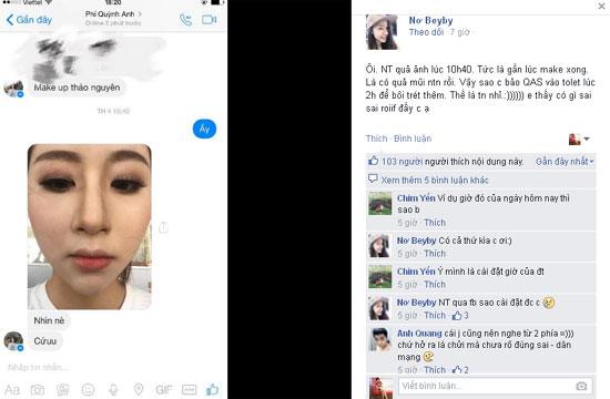 Hình ảnh trang điểm lem nhem Quỳnh Anh gửi cho bạn mình bị nhà trang điểm T.N cho rằng chính Quỳnh Anh đã tô vẽ thêm chứ đây không phải là sản phẩm của cô.