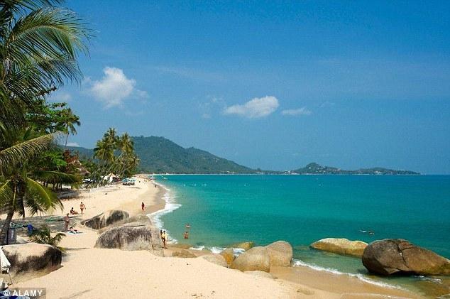 Bãi tắm tại vùng biển thuộc đảo Koh Samui, Thái Lan,nơi xảy ra vụ tai nạn