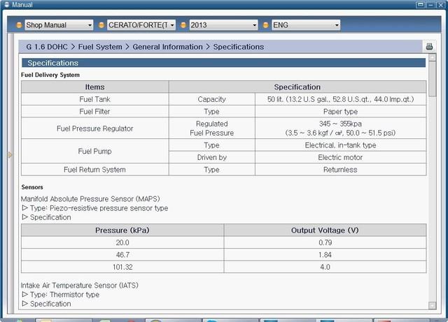 Thông số dung tích bình xăng Kia Cerato/Forte
