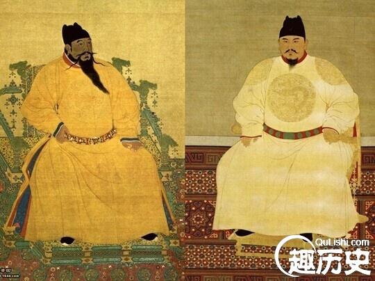 Chân dung của thúc thúc Chu Đệ (bên trái) và cháu ruột Chu Doãn Văn.