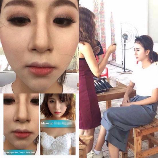 Hình ảnh Quỳnh Anh Shyn trong lúc trang điểm.