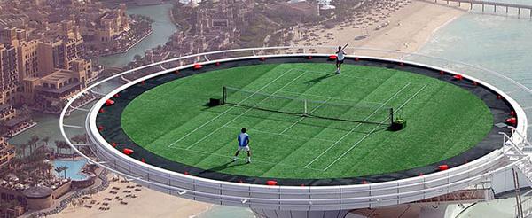 Sân quần vợt ở trên nóc các tòa nhà cao tầng.