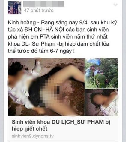 Tung tin đồn thất thiệt về nữ sinh viên bị hiếp dâm, chết lõa thể lên facebook gây hoang mang
