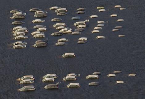 Xe hơi như những cái xác phơi thây trên đường sau khi bị dòng nước lũ nhấn chìm (2011) (ảnh: Business Insider)