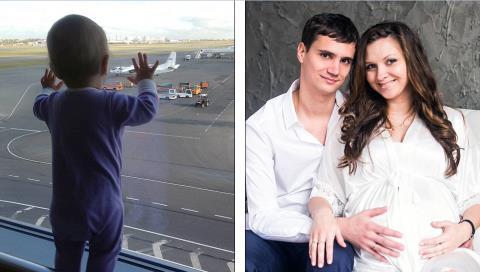 Bé 10 tháng tuổi này (trái) và cặp vợ chồng Aleksei Gromov - Tatiana nằm trong số những hành khách không may tử nạn trên chuyến bay Airbus. Ảnh: Daily Mail