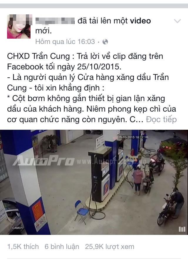 Chủ cây xăng Trần Cung khẳng định cửa hàng không gian lận.
