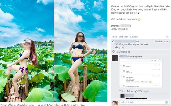 Thiếu nữ mặc bikini tạo dáng ở đầm sen bị coi là phản cảm.