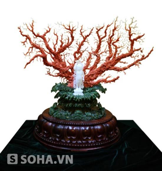Cây san hô đỏ điêu khắc bằng ngọc