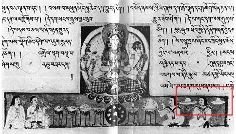 Nhiều văn bản tiếng Phạn cổ với hình ảnh UFO