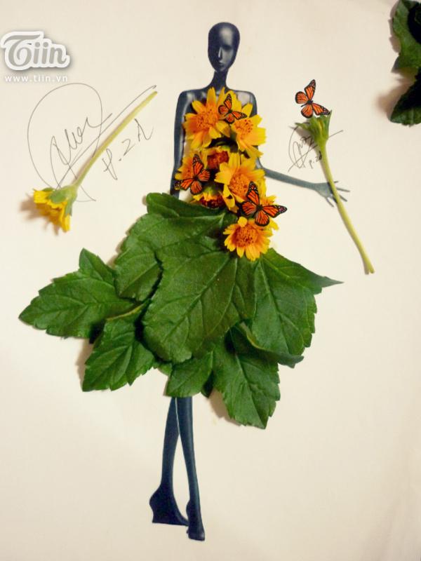 9x điển trai thiết kế thời trang từ cỏ cây hoa lá và mì tôm