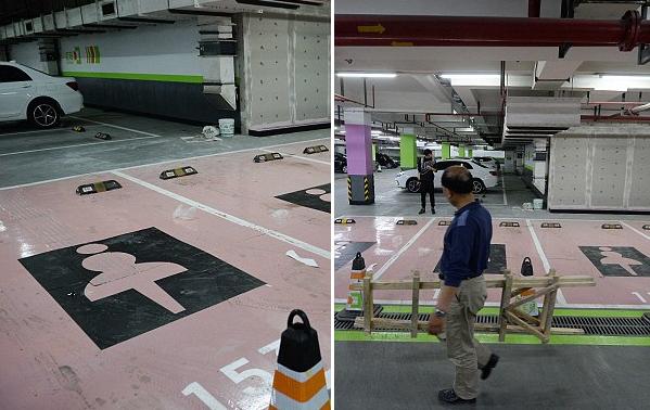 Chỗ đậu xe màu hồng với logo nữ khiến việc đỗ xe trở nên dễ dàng hơn cho phái yếu tại một trung tâm mua sắm ở Thượng Hải