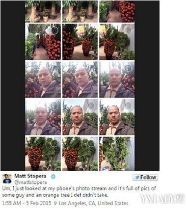 Matt Stopera chia sẻ trên Twitter những hình ảnh về người đàn ông Trung Quốc bất ngờ xuất hiện trong điện thoại của anh.