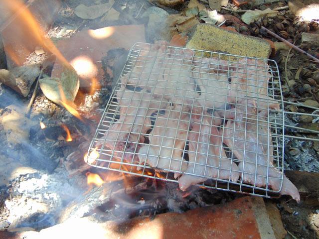 Sau khi làm thịt, những chú chuột được nướng trên bếp lửa hồng.