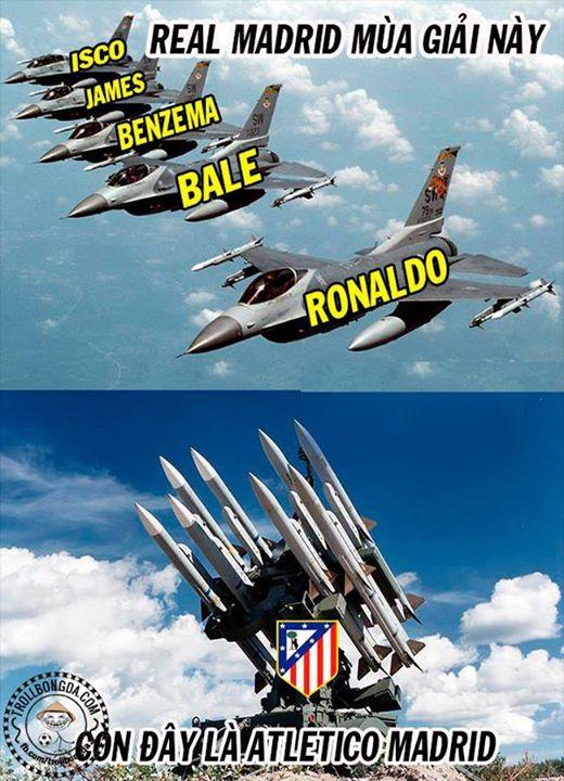 Máy bay Real vẫn phải cóng trước tên lửa Atletico