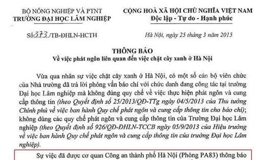 Công văn 373 của trường ĐH Lâm nghiệp.