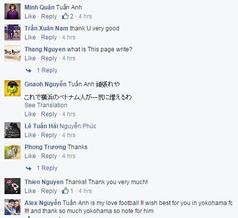 Fan Việt quẩy tưng bừng trên fanpage của Yokohama FC.