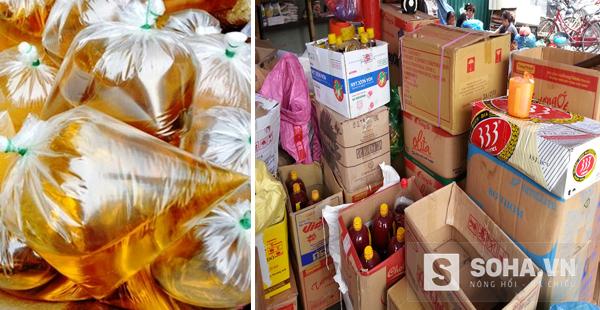 Dầu ăn giá rẻ được buộc vào túi nilon bán lẻ hoặc bọc trong thùng carton bán buôn.