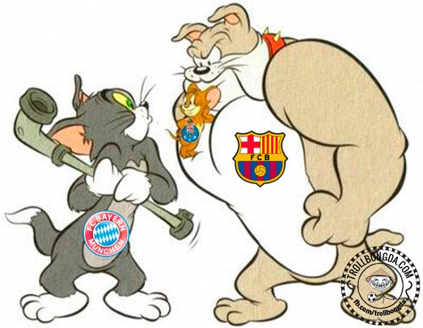 Chú mèo Bayern run rẩy trước Barca