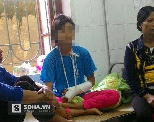 Em N T T hiện đang được điều trị tại Bệnh viện Đa khoa huyện Tân Yên.