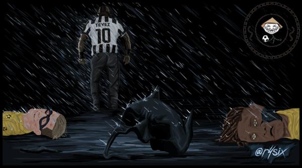 Tevez quật ngã cả Batman lẫn Robin của Dortmund.