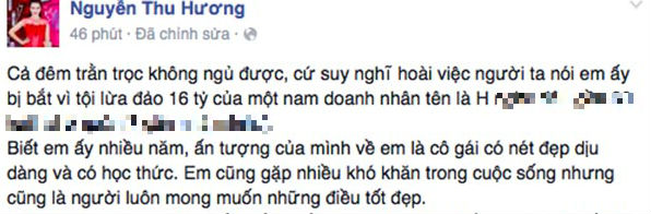 Chia sẻ của Hoa khôi Thể thao Thu Hương trên mạng xã hội.