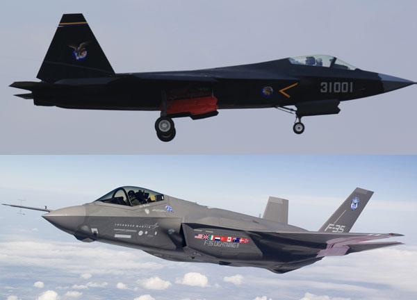 Thiết kế J-31 (trên) rất giống với F-35 (dưới).