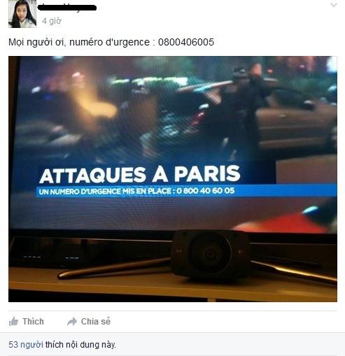 Du học sinh Việt Nam ở Pháp chia sẻ số điện thoại khẩn cấp nếu cần trợ giúp trong vụ khủng bố tại Paris