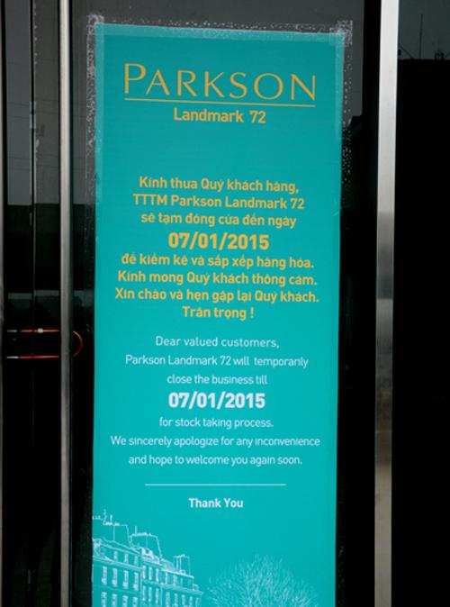 Thông báo về việc Parkson sẽ tạm dừng để kiểm kê hàng hóa đến hết 7/11/2015.