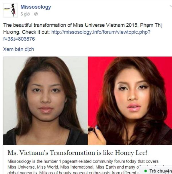 Trang Missosology đăng tải ảnh cũ của Phạm Hương.