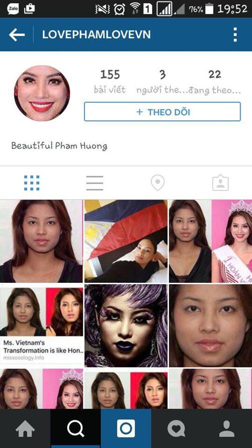 Trang giả mạo fan hâm mộ của Phạm Hương thường xuyên đăng tải ảnh cũ kém nhan sắc của cô.