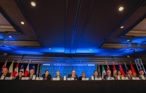 Bộ trưởng thương mại 12 nước thành viên họp công bố TPP đạt thỏa thuận cuối cùng, ngày 5/10/2015