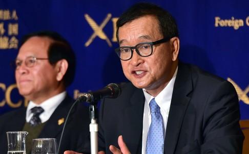 Ông Sam Rainsy phát biểu trong cuộc họp báo tại Tokyo, Nhật Bản hôm 10/11 vừa qua. Ảnh: AFP