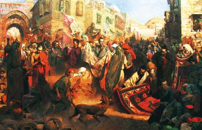 Hình ảnh mô tả lại cảnh tượng hỗn loạn, đau đớn trong vụ đốt sách chôn nho để lại nhiều oán than dưới triều Tần.