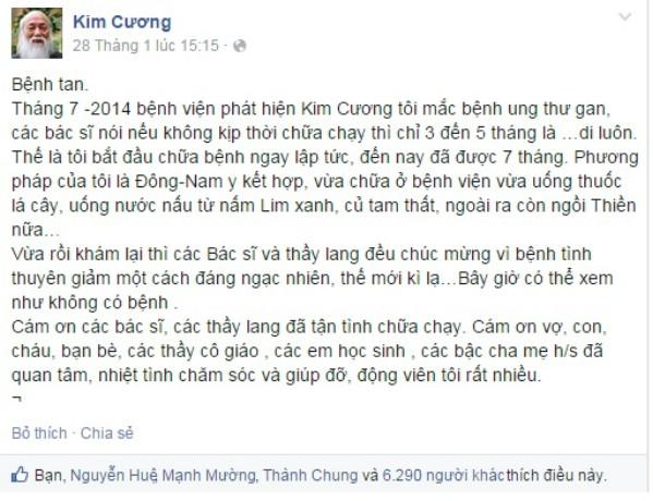 Dòng chia sẻ Bệnh tan của PGS Văn Như Cương.