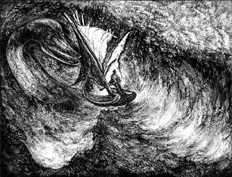 """""""Quái vật"""" hồ Loch Ness trong một bức tranh cổ."""