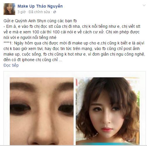 Người make up bức xúc tố cáo Quỳnh Anh Shyn.